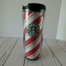 Starbucks Travel Mug Tall 12 oz Candy Cane  Screw On Flip Lid 2008 Holiday - $9.85