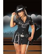 Rhinestone Cowgirl Costume Mini Dress w Belt, Silver Rope Lasso Size 3X  - $45.99