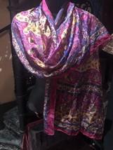 Vintage Echo Magenta Floral Paisley Neck Silk Scarf Wrap Shawl - $34.65