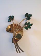 Vtg Coro Sterling Craft Flower Brooch Vermeil Signed Designer Green Rhin... - $38.61