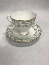 Tea coffee cup Porcelain England  English Castle Staffordshire Teal - $16.82