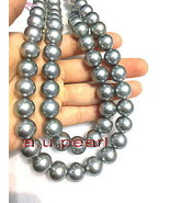 "COLLECTABLE Top 35""12-14mm natural round south sea black gray pearl neck... - $10,925.00"