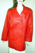 Vintage AVANTI Red Leather Oversized 1980's Long Duster Jacket Coat (M) NWT - $48.90
