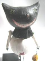Cat Head clown with Jack-O-Lantern Black White Halloween - $9.85