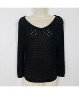 Ann Taylor Open Knit Sweater Women's Size Medium/Large Black V Neck Lage... - $16.83