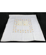 Vintage Off White Tablecloth & 4 Napkins, Gold & Brown Stitched Floral P... - $39.99