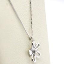 ORSINI 18K WHITE GOLD NECKLACE FLOWER DAISY PENDANT WITH DIAMOND, VENETIAN CHAIN image 2