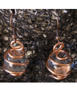 Crystal Ball Earrings Copper Wire Wrapped Copper Hooks Handcrafted  - £7.64 GBP