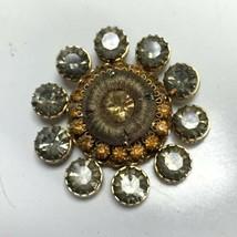 Vintage Designer VENDOME Layered Brooch Rhinestone Smokey Orange Gold To... - $24.74