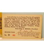 1944 Detroit Tiger Baseball Season Pass Walter O Briggs President Extremely Rare - £140.34 GBP