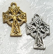 CELTIC CROSS FINE PEWTER PENDANT CHARM - 15mm L x 25mm W x 2mm D