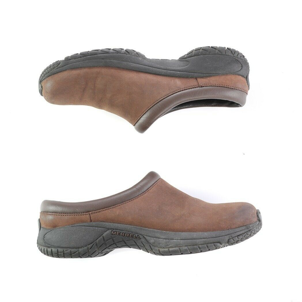 Merrell Encore Groove Brown Nubuck Leather Mules Slip On Comfort Shoes Womens 8