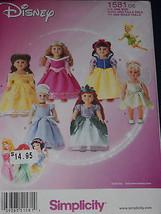 "18"" Doll Disney Princess Costumes Simplicity 1581 Sewing Pattern - $8.90"