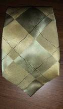 Kenneth Cole Gold Diamond Print Handsome Silk Necktie Tie Handmade - $19.79