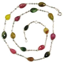 18K WHITE GOLD NECKLACE, PURPLE GREEN YELLOW DROP TOURMALINE, ROLO CHAIN image 2