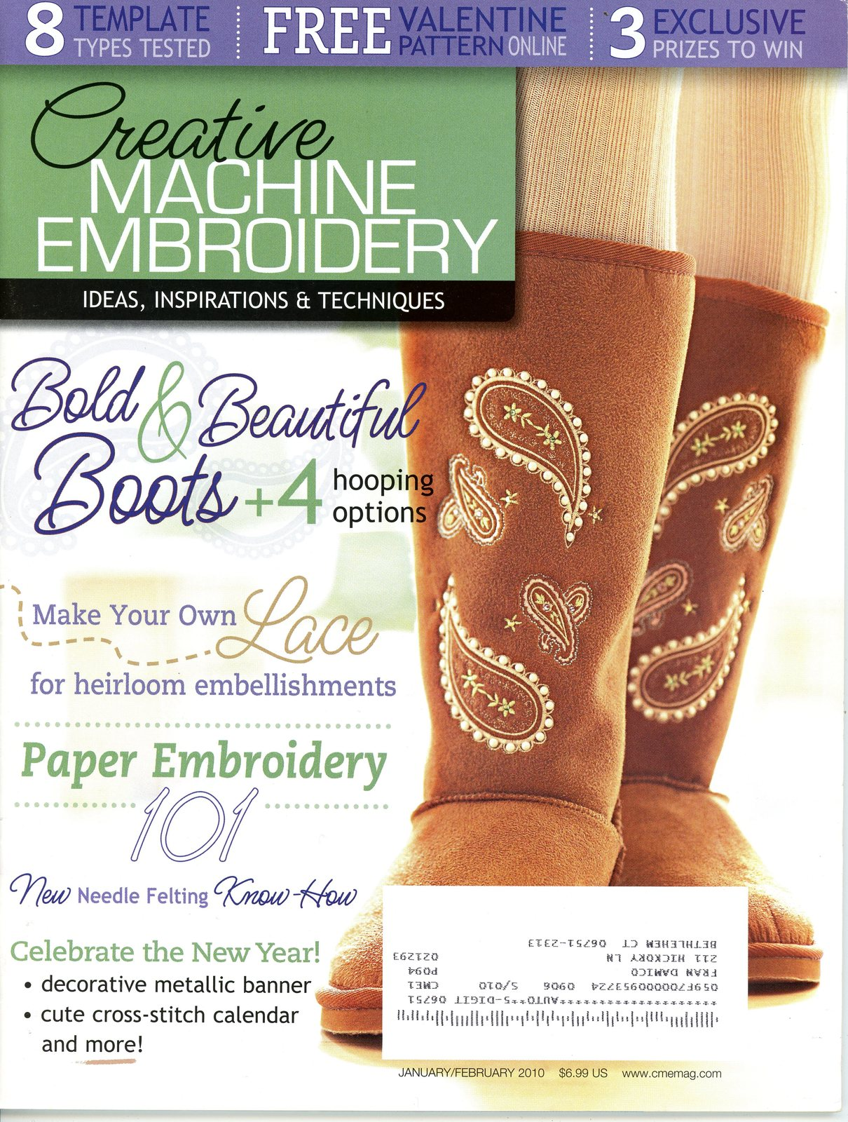 Primary image for Creative Machine Embroidery Magazine Jan/Feb 2010 Lace Boots Paper Baby Quilt