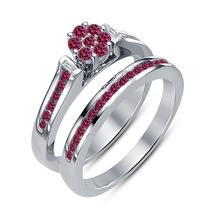 925 Silver Round Pink Sapphire Classic Bridal Wedding Ring Set - $87.99