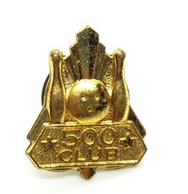 Vintage Collectible Lapel Pin - Gold Tone 500 Club Bowling Pin Tie Tack  - $7.72