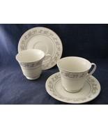 2 Dynasty Fine China Rapture Cup & Saucer Sets Pink White Blue Floral Pl... - $15.00