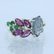 Spinel Carving Rhodolite Tsavorite Garnet Handmade Silver Floral Ring si... - £79.74 GBP