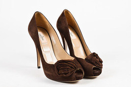 Valentino Brown Suede Leather Rosette Hidden Platform Peep Toe Pumps SZ ... - $135.00