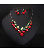 Gorgeous Summer LUCKY CHERRIES with Green Leaves Necklace Plus Matching ... - $28.70