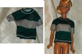 Doll clothes green white sweater fits vintage Barbie made by Mattel for ... - $7.99