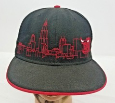 Chicago Bulls Skyline Embroidered New Era Fifty Nine 50 Hat Sz 8 Flat Cap - $16.38