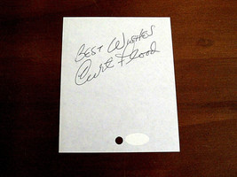 CURT FLOOD 2 X WSC CARDINALS REDLEGS SIGNED AUTO VINTAGE CUT JSA AUTHENT... - $148.49