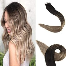 Fshine 18 Inch Tape In Human Hair Extensions Balayage Ombre Hair Extensions Blac