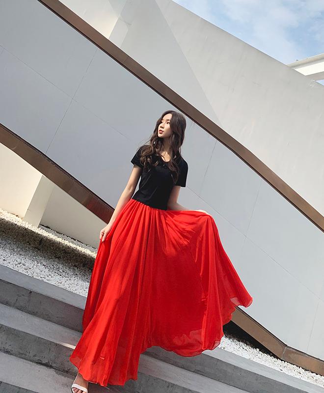 Red chiffon skirt 5