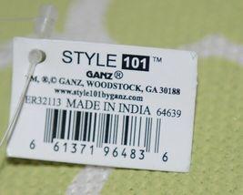 GANZ Brand ER32113 Style 101 Large Burlap Black Cream Green Purse Black Handle image 7