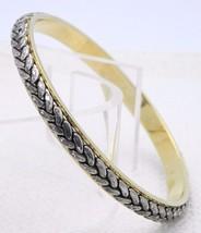 Vintage Liz Claiborne Dual Gold Silver Tone Rope Braid Bangle Bracelet - $13.86