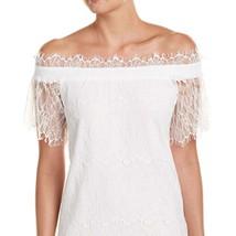 On Twelth Women White Off Shoulder Lace Shift Dress image 3