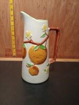 "Vintage Napco Ware Ceramic Orange Juice Tall Embossed Ceramic Pitcher 9""... - $22.87"
