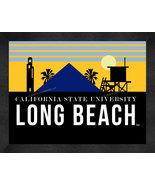 California State Long Beach 13 x 16 Uscape with Retro Skyline Framed Print  - $39.95