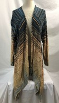 Nic + Zoe Blue & Brown Asymmetrical Cardigan Sweater, Womens Size 2X - $28.49