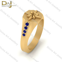Solid 18k Yellow Gold Blue Diamond Engagement Ring Womens Captain Marvel... - $569.99