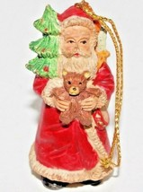Vintage Old World Santa Claus Figure Ceramic Christmas Hanging Ornament  - $9.89