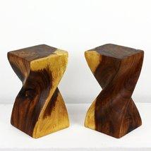 HAUSSMANN Mini Wood Big Twist Stool 4 in SQ x 8 in H Livos Clear Oil, Se... - $31.95
