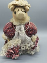 Handmade Cloth Pig Piggy Doll Cotton Dress Lace Apron Glasses Parasol Ne... - $16.50