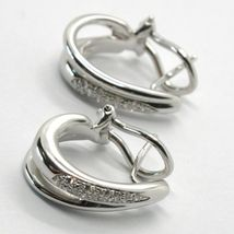 SOLID 18K WHITE GOLD PENDANT DROP HOOPS EARRINGS WITH DIAMONDS, CLIPS CLOSURE image 4