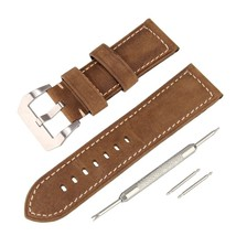 26mm Calf Leather Padded Genuine Strap Watch Band Replacement Kit Stainl - $41.74