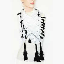 New STEVE MADDEN Cotton Lawn Running Stitch Tassel Square Scarf Wrap Par... - €8,31 EUR