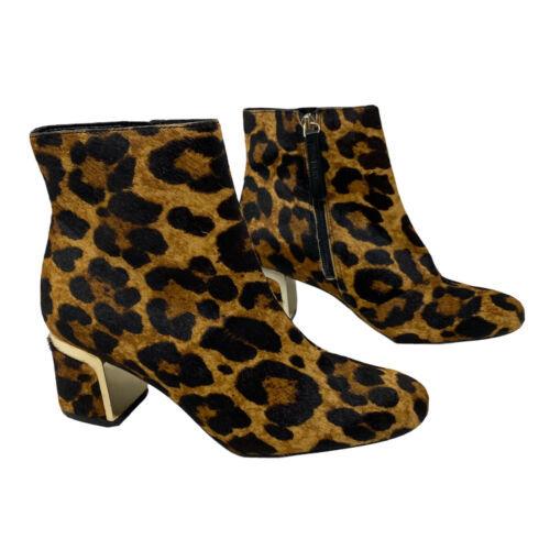 DKNY Women's 6.5 Corrie Calf Hair Leopard Booties Brown Heeled Ankle New York - $67.85