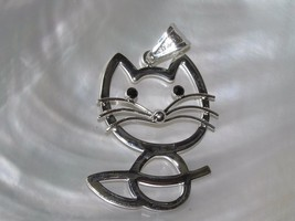 Estate Best Signed Large Silvertone Outline Kitty Cat w Whiskers & Black... - $9.49