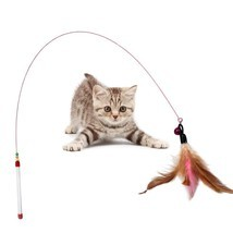 Funny Cat / Kitten Pet Teaser Feather Wire Chaser Pet Toy Wand Beads Play image 1