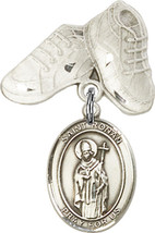 Sterling Silver Baby Badge with St. Ronan Charm and Baby Boots Pin 1 X 5... - $56.50