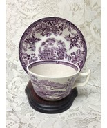 Vintage, Royal Staffordshire, England,Variant Purple-Blue Willow Cup and... - $23.70