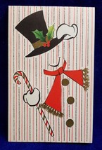 Hallmark Christmas Card Snowman Top Hat Candy Cane Glittered w Envelope ... - $7.25